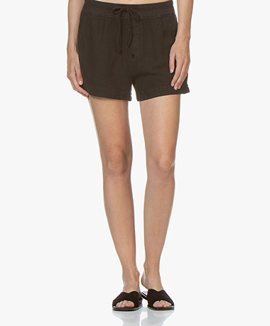 James Perse Pull On Linnen Blend Shorts - Black