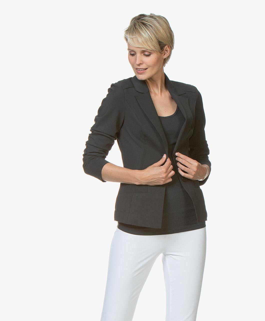 Woman By Earn Juul Bonded Tech Jersey Blazer Dark Grey
