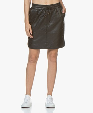 by-bar Sporty Leren Rok - Zwart
