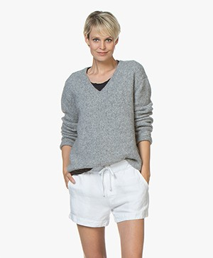 Closed V-neck Sweater with Alpaca - Grey Melange