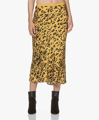 ANINE BING Bar Silk Printed Skirt - Golden Leo
