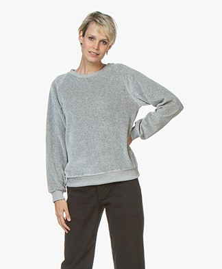 American Vintage Isacboy Velours Sweater - Grijs Mêlee