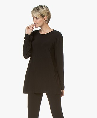 Norma Kamali Boyfriend Crew Long Sleeve - Black