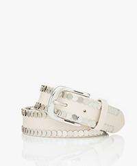 IRO Bhaki Leather Studded Belt - Off-white