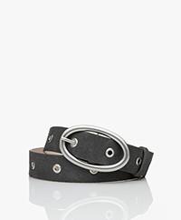 IRO Slack Suede Belt with Eyelets - Dark Grey