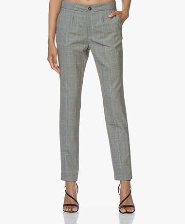 LaSalle Checked Wool Blend Pants - Sky