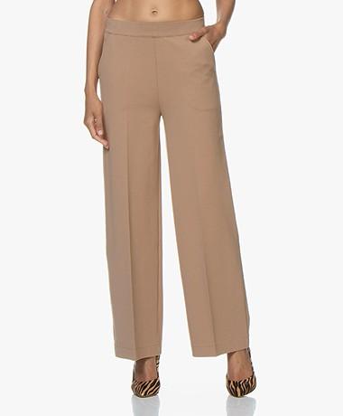 LaSalle Ponte Jersey Wide Leg Sweatpants - Camel