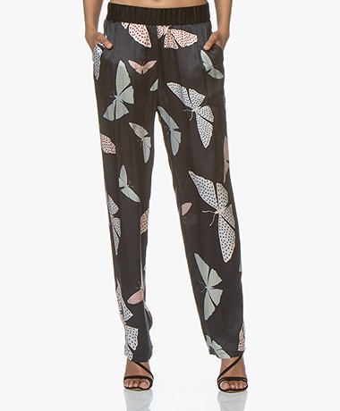 forte_forte Silk Buterfly Print Pants - Notte