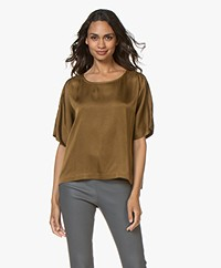 Pomandère Cupro Blend Short Sleeve Blouse - Olive Green