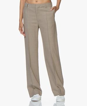 Filippa K Hutton Wool Crepe Trousers - Beige Melange