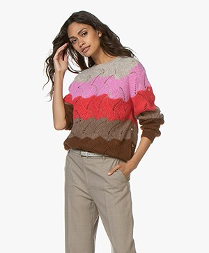 Closed Multi-color Ajour Sweater in Mohair Blend - Red Pepper