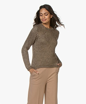 Pomandère Chunky Knitted Sweater with Lurex - Khaki