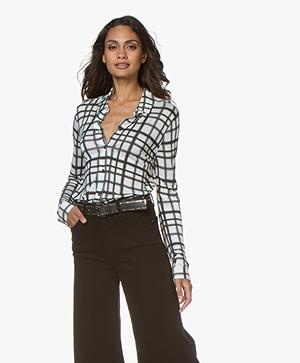 Majestic Filatures Checkered Jersey Blouse - Black