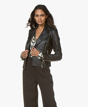 Drykorn Ceylon Leather Biker Jacket - Black