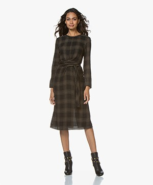 Pomandère Checkered Gauze Midi Dress - Black