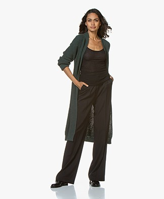by-bar Berry Long Open Rib Cardigan - Dark Green