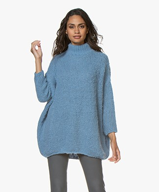 American Vintage Boolder Oversized Turtleneck Sweater - Sky