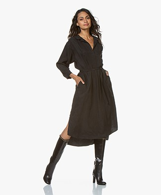 Closed Batilde Cupro Blend Midi Shirt Dress - Black