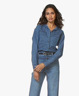 Closed Martha Cotton Denim Blouse - Mid Blue