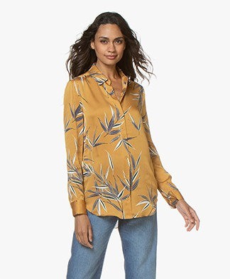 Equipment Essential Satin Blouse with Leaf Print - Ochre Yellow