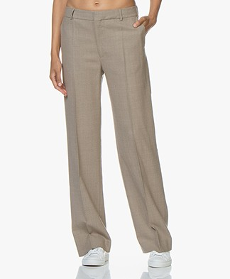 Filippa K Hutton Wool Crepe Trousers - Beige Melange