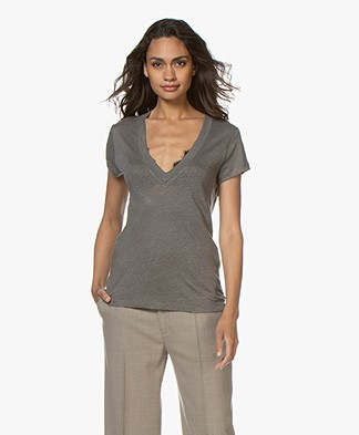 IRO Rodeo Linen V-neck T-shirt - Dark Grey