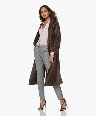 forte_forte Wool Blend Coat with Tie Belt - Mosto