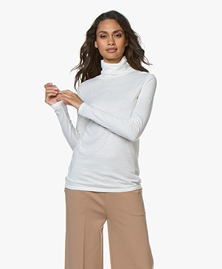 Majestic Filatures Colshirt met Cashmere - Off-white