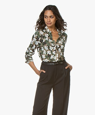 Majestic Filatures Floral Jersey Blouse - Army