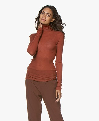 American Vintage Massachussets Jersey Turtleneck - Walnut