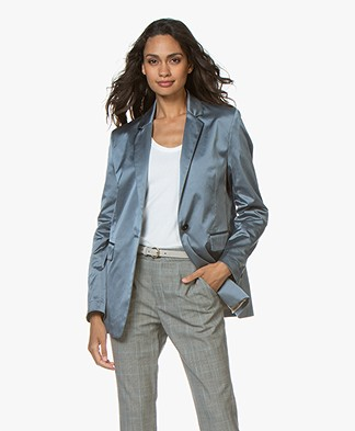 Closed Alby Satin Blazer - Polar Blue