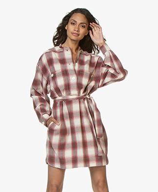 Vanessa Bruno Maya Flannel Checkered Shirt Dress - Aubergine