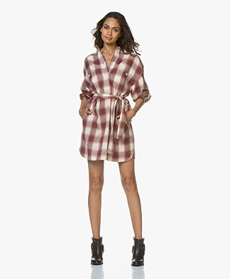 Vanessa Bruno Maya Flannel Checkered Shirt Dress - Aubergine