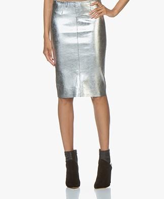 Zadig & Voltaire Jaden Metallic Leather Skirt - Silver