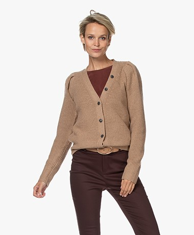 Repeat V-neck Button-through Cardigan in Merino Wool - Camel