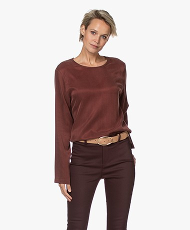 Drykorn Delania Cupromix Blouse - Bitter Chocolate