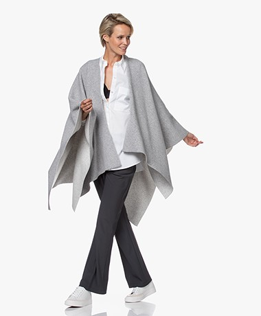 Resort Finest Double-face Cashmere Blend Poncho - Grey
