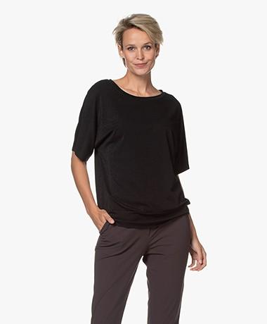 no man's land Lurex T-shirt - Zwart