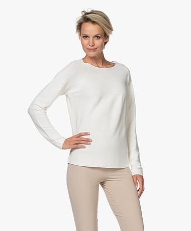 no man's land Cotton Garter Stitch Rib Sweater - Ivory