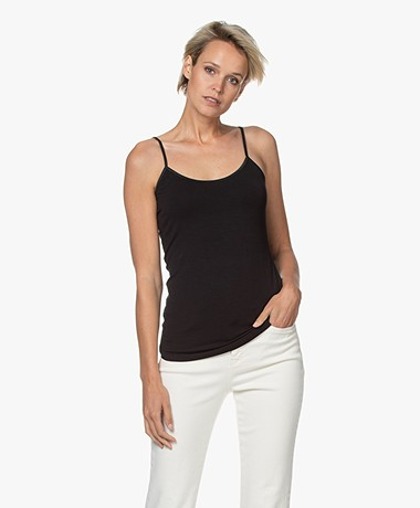 no man's land Viscose Singlet - Zwart