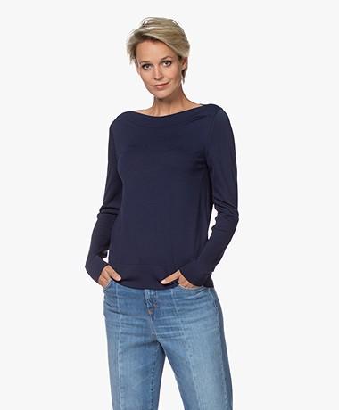 LaSalle Fine Knit Boat Neck Sweater - Navy