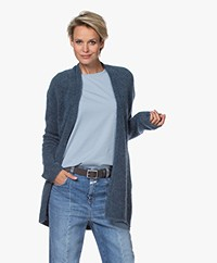 no man's land Open Mohair Blend Cardigan - Steel Blue