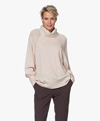 Repeat Merino Turtleneck Sweater with Ajour Details - Light Beige