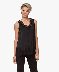 Repeat Silk Blend Top with Lace - Black