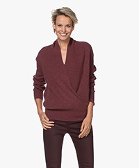 Repeat Wool and Cashmere Wrap Sweater - Burgundy