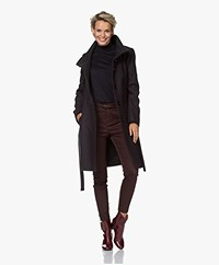 Drykorn Cavers Knee-length Wool Blend Coat - Dark Navy