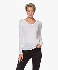 Skin Cotton V-neck Long Sleeve - White