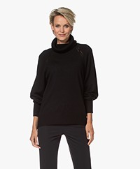 Repeat Merino Turtleneck Sweater with Pointelle Details - Black