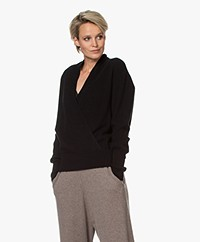 Repeat Wool and Cashmere Wrap Sweater - Black