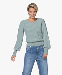 Repeat Cashmere Cable Knit Sweater - Jade